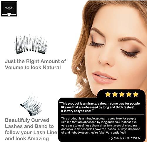 d3c3bd97167 Amazon.com : ARVESA 8x False Magnetic Eyelashes Full Set [With APPLICATOR,  BRUSH and eBOOK] The Best Fake Eye Lashes Magnet - Dual Magnets Silk Eyelash  ...