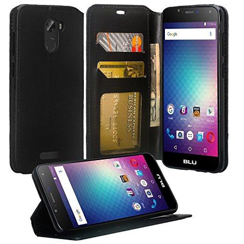 Compatible with Coolpad Revvl Plus C3701A Case, SOGA [Pocketbook Series] PU Leather Magnetic Flip Design Wallet Case - Luxury Black