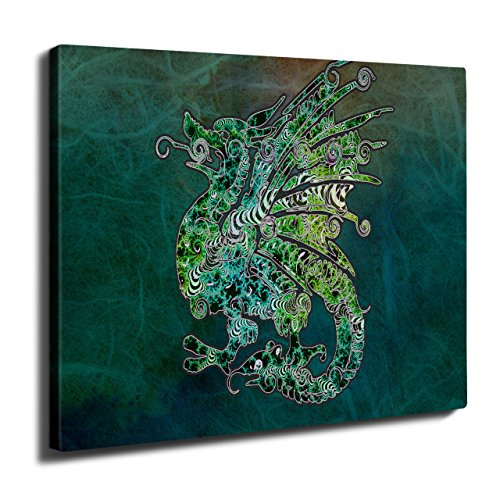 Fantasy Chinese Dragon Welsh Flag Wall Art Canvas