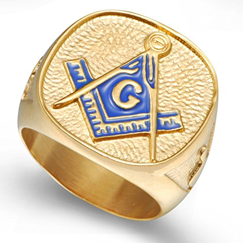 18K Gold Plated Stainless Steel Masonic Ring (Mens Masonic Ring)
