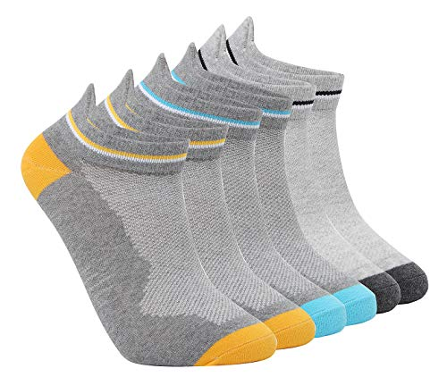 - No Show Athletic Socks, Tutast Unisex Ultra-Light Cotton Running Low Cut Crew Non-Slide Socks, Size7-13 (Grey, 6 Pack)