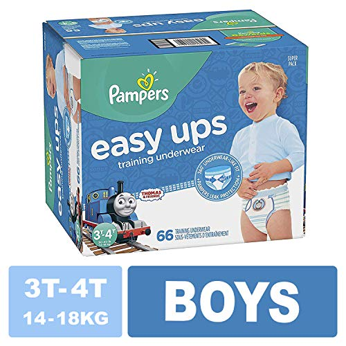 Pampers Easy Ups Training Pants Pull On Disposable Diapers for Boys, Size 5 (3T-4T), 66 Count, Super Pack