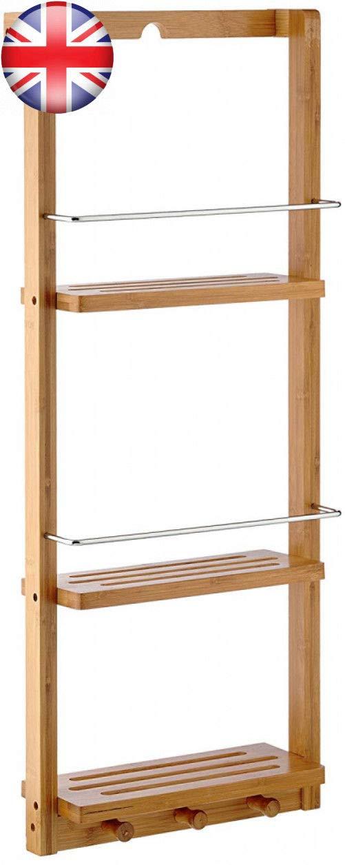 mejor calidad mejor precio Estante de baño de bambú y y y Ganchos para Montar en la Parojo, con estantes, montado en la Parte súperior y Ganchos, ed Bathro  hermoso