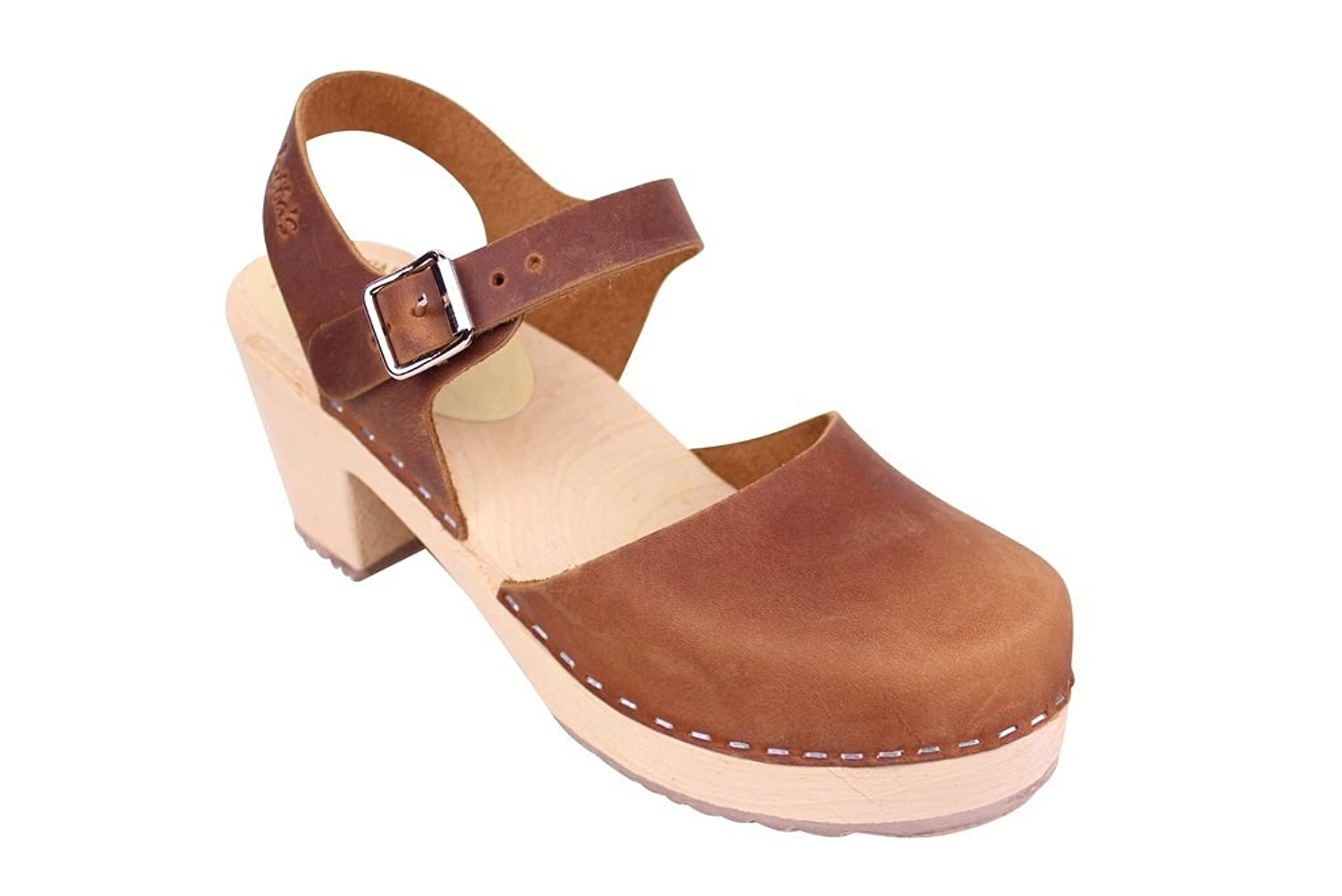 Lotta From Stockholm Highwood Clogs in Brown Oiled Nubuck