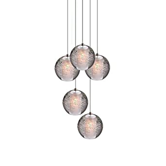 LED Design Pendel Leuchte Ess Zimmer Chrom Decken  Glas Kristall Hänge Lampe