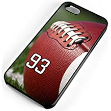 iPhone 6s 6 Case Football Leather Pigskin Any Custom Jersey Number 93 Black Plastic