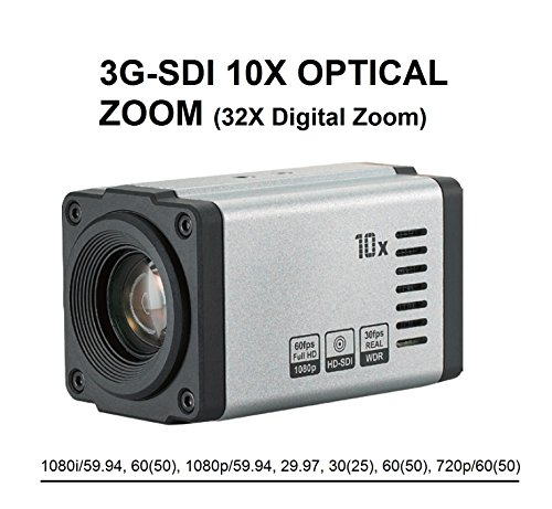 AED Full HD 1080p, 1080i, 3G-SDI, 60fps / 59.94fps, 10x Optical, x32 digital zoom (5.1mm-51mm), Real-time True WDR, Digital Image Stabilizer, VISCA protocol support, Built-in lens Professional Camera by AED-BCZ550