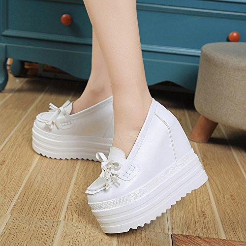 khskx-white Pedal Slip-On Super Chun piel sintética plataforma zapatos de tacón alto arco zapatos de ocio blanco
