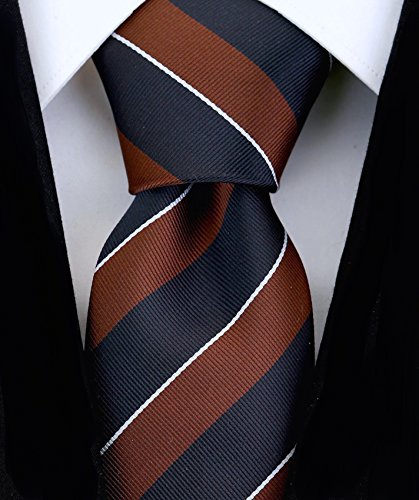 Scott Allan Mens College Striped Necktie - Brown/Black
