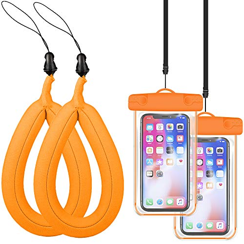 (JDHDL Waterproof Camera Float Strap with Waterproof Phone Case Universal Floating Wristband/Strap Works with G o Pro, Nikon, Canon, Sony, Pentax, Camcorders, phones, Panasonic, Keys, Sunglass (Orange))
