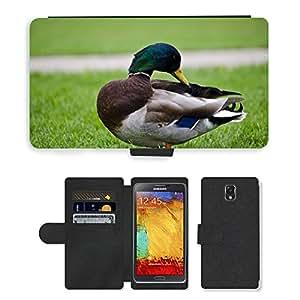Super Stella Cell Phone Card Slot PU Leather Wallet Case // M00104034 Mallard Duck Bird Fowl Grass Green // Samsung Galaxy Note 3 III N9000 N9002 N9005