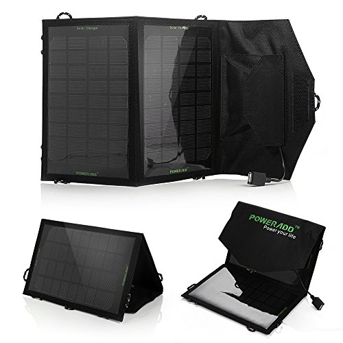 7W Solar Charger Poweradd Portable Foldable Solar Panel Charger for Apple iPhone 6 plus 5s 5c 5 4s 4 ipad mini Air Samsung Galaxy S6 Edge Note 4 LG G4 HTC GPS Gopro Camera and More