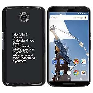 YOYOYO Smartphone Protección Defender Duro Negro Funda Imagen Diseño Carcasa Tapa Case Skin Cover Para Motorola NEXUS 6 X Moto X Pro - gris visión inspiradora blanco pensó