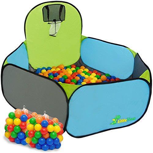 LittleTom Kinderspielzelt Bällebad-Pool Pumba inkl. 200 Bällebadbällen | Bällepool Spielpool Spielzelt für Jungen und Mädchen | Spielset Kinder-Bällebad-Zelt mit Spielbällen für Drinnen und Draußen | mit Tragetasche