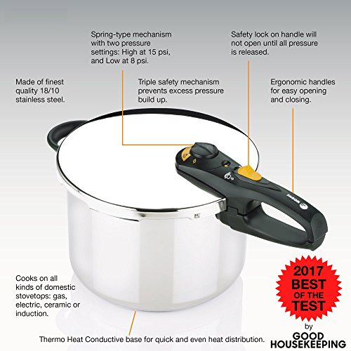 Fagor DUO 10 Quart - Multi-Setting Pressure Cooker and Canner with Accessories, Polished Stainless Steel - 918060796 by Fagor (Image #1)