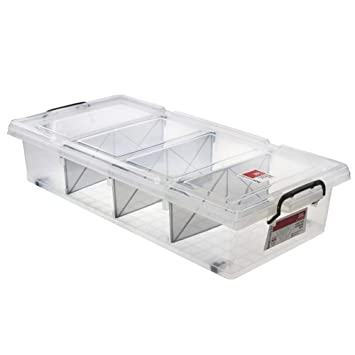 Set Of 6 Plastic Underbed Storage Box With Wheels Removable