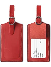 Genuine Leather Luggage Tags Bag Case Holders Baggage Travel Tag with Full Back Privacy Cover 1 Pcs Red