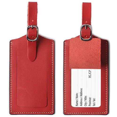 Genuine Leather Luggage Tags Bag Case Holders Baggage Travel Tag with Full Back Privacy Cover Red