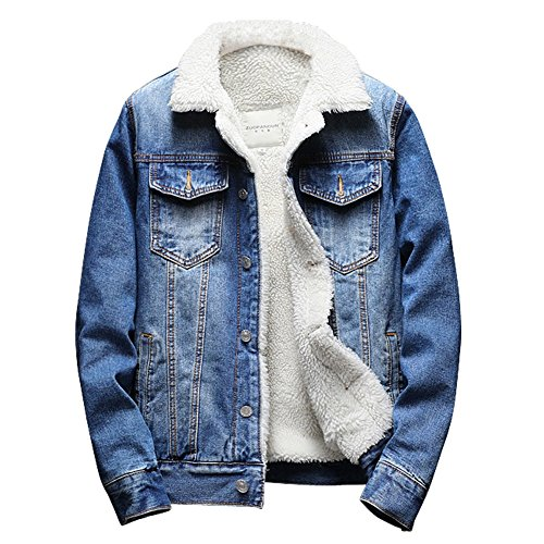 Sherpa Trucker Jacket (Men's Sherpa Lined Denim Jacket Button Down Classy Thicken Warm Casual Fashion Quilted Jeans Coats Outwear)