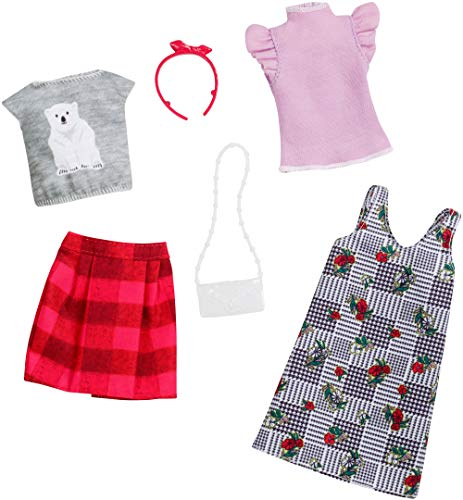 Barbie Clothes: 2 Outfits for Barbie Doll Mix Checks and Nature with A Polar Bear T-Shirt, A Floral Print Dress and Plaids, Gift for 3 to 8 Year Olds from Barbie