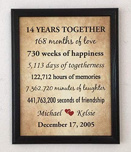 Amazon.com: Framed 14th Anniversary Gifts for Couple, 14 ...