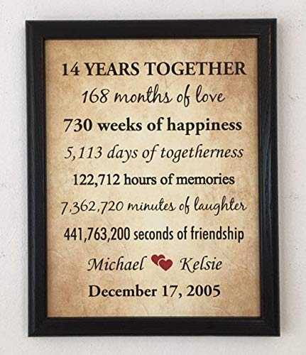 Amazon Com Framed 14th Anniversary Gifts For Couple 14 Year