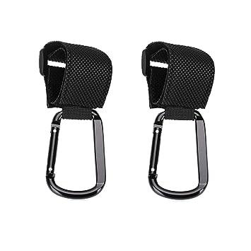 2x Black Clip Hooks for BabyZen strollers Hang Shopping Diaper Bags Purse New