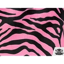 Velboa Faux / Fake Fur Zebra PINK BLACK Fabric By the Yard