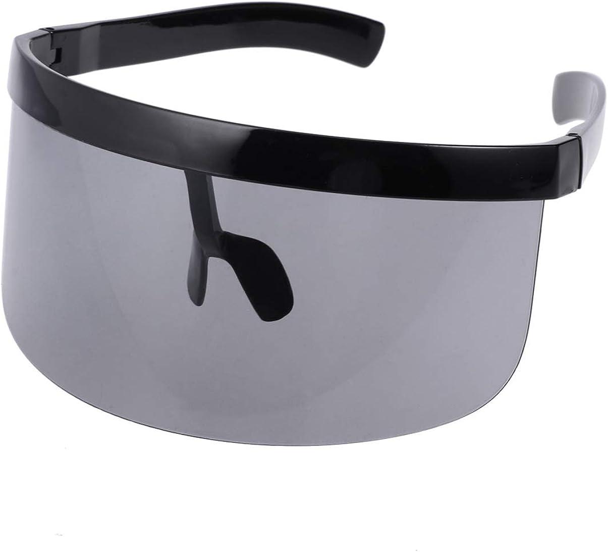 VORCOOL Oversize - Gafas de sol futuristic Shield con visera plana, unisex, protección cortavientos, protección solar para hombres y mujeres deportes al aire libre (negro)