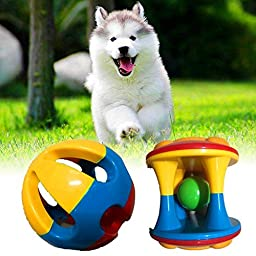ECOOLBUY 3 PACK 2.9inch Cute Pet Dog Cat Bird Bites Toy Parrot Chew Bell Ball Toys Swing Cage Cockatiel Parakeet For Bird Cat Small Medium Dog