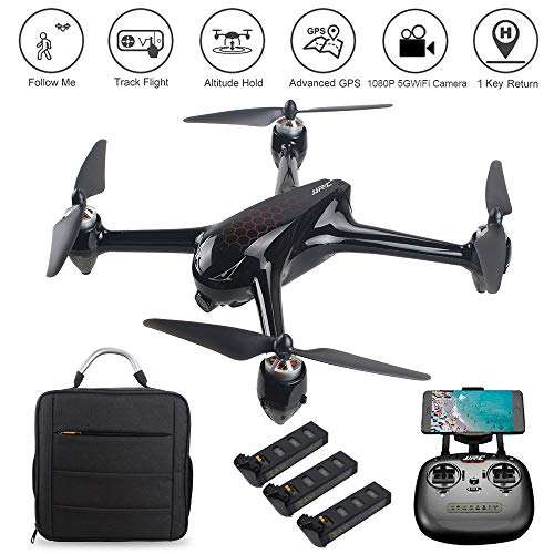 LOHOME JJRC X8 RC Quadcopter Drone 1080P 5G WiFi Camera Live Video, 6-Axis Gyro FPV Drone, GPS Return Home/Altitude Hold/Follow Me/Point of Interest Flying/ 3 Battery 1 Handbag as MJX B2SE