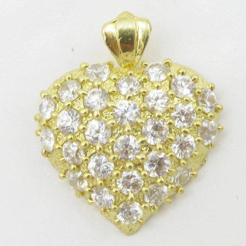 Womens 10 k jaune or pierres précieuses EGP85 Blanc-Coeur