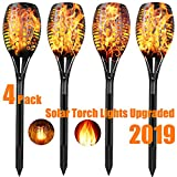 TOPMANTE Solar Torch Lights Outdoor Upgraded - Flickering Flames Torch Lights Weatherproof Solar Light - Dancing Flame Lighting - 96 LED Dusk to Dawn - Flickering Torches Outdoor Waterproof (4pcs)