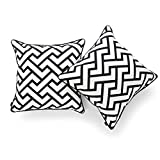 Hofdeco Decorative Throw Pillow Cover INDOOR OUTDOOR WATER RESISTANT Canvas Modern Black City Maze 18''x18'' Set of 2