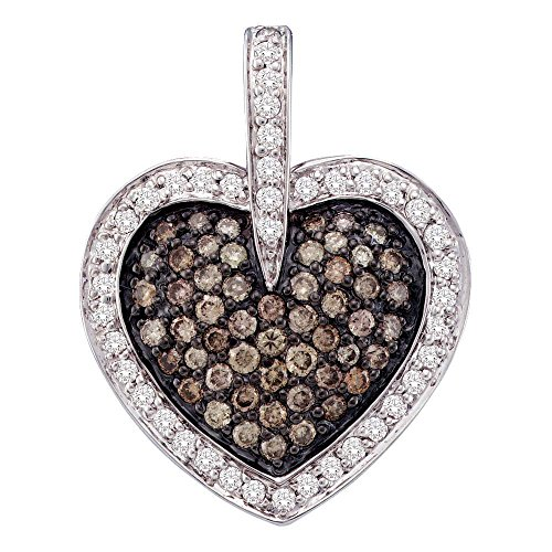 Roy Rose Jewelry 14k White Gold Womens Cognac-brown Colored Diamond Heart Cluster Pendant 1-Carat (1 Carat Diamond Heart Pendant)
