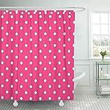 Pink Polka Dot Shower Curtain Semtomn Shower Curtain Dots Hot Pink Polka White Spots Bright 72