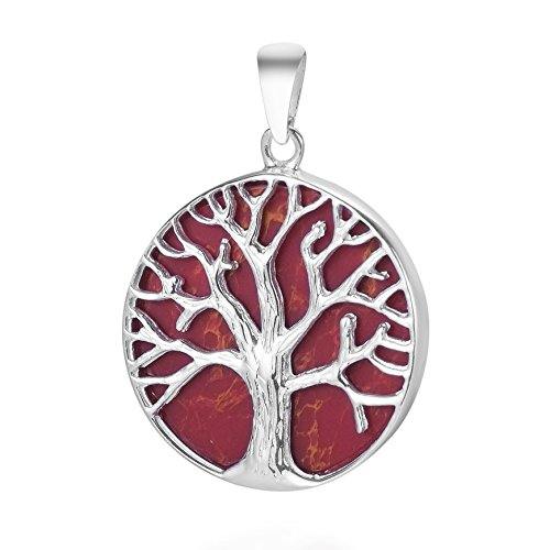 Mystical Tree of Life Reconstructed Red Coral Inlay .925 Sterling Silver Pendant (Coral Pendant Tree)