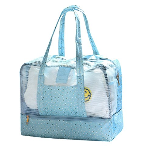 Water Beach Gym Sports Travelling Dry Makeup Swim Bag Separated Handbag Kit Bag Wet Swimming Sport Beach Camping For Toiletry Mesh Shoes Outdoor Bag Bag Tote Storage Pool Blue wUfTxzUXq