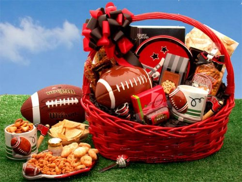 Fantasy Football Gift Basket of Gourmet Snacks -Great Holiday, Birthday, or Father's Day Gift Idea (Football Basket Ideas)