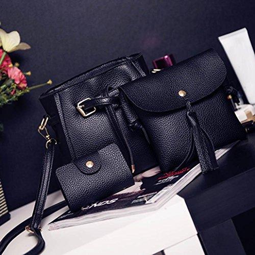 Rakkiss Women Four Set Handbag Shoulder Bag Fashion Tote Bag Crossbody Wallet Leather Satchel Backpack(Four Pieces) (One_Size, Black) by Rakkiss_Clearance Bag (Image #1)