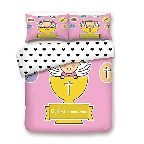 Duplex Print Duvet Cover Set King Size/First Communion Girl Happy Smiling Child Illustration Prayer Believe Celestial Art/Decorative 3 Piece Bedding Set with 2 Pillow Sham,Light Pink,Best Gift For You