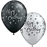 "Birthday Elegant Sparkles Black & Silver Qualatex 11"" Latex Balloons x 5"