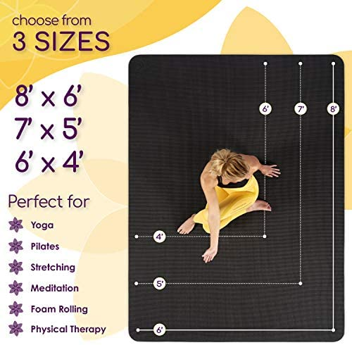 Large Yoga Mat 7'x5'x8mm Extra Thick, Durable, Eco-Friendly, Non-Slip & Odorless Barefoot Exercise and Premium Fitness Home Gym Flooring Mat through ActiveGear