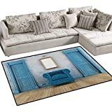Antique,Carpet,Empty Room with Two Doors Armchair and Simple Mirror with Golden Color Frame,Area Silky Smooth Rugs,Blue Sand Brown Size:40''x55''