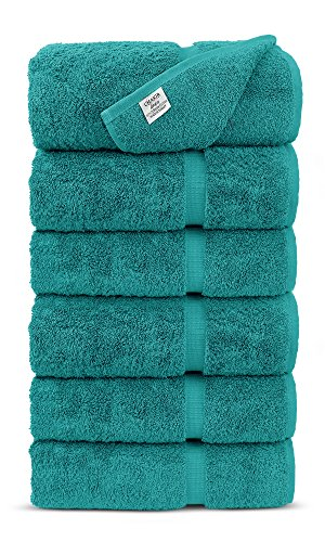 Luxury Premium long-stable Hotel & Spa Turkish Cotton 6-Piece Eco-Friendly Hand Towel Set (Aqua) by Chakir Turkish Linens