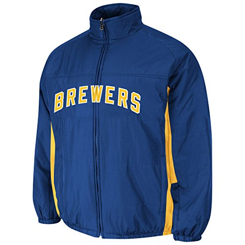 Milwaukee Brewers Royal Authentic Double Climate On-Field Jacket by Majestic Select Size: Medium