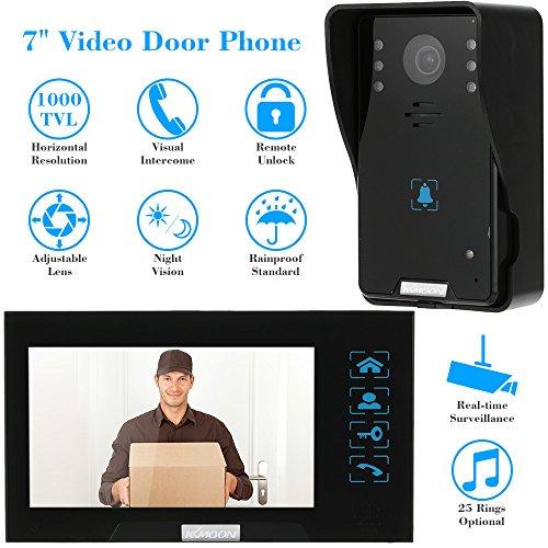 KKMOON 7 Zoll Video Tür Telefon Intercome Türglocke Touch Button Remote entsperren Night Vision Regendichtes Security CCTV-Kamera-Startseite Überwachung TP02K12