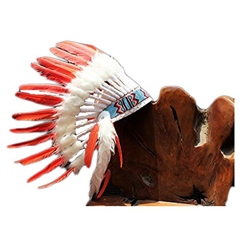 X33 fluor Collection: Orange Warbonnet .Native American Style Feather Headdress -