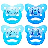 Dr. Brown's PreVent Contour Glow in the Dark Pacifier, Stage 3 (12m+), Blue, 4-Count