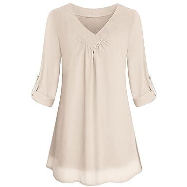1f717dfc97d Ulanda-EU Womens Tunic Tops Ladies Roll up Long Sleeve Long Pleated Chiffon  Tops T Shirts Casual Loose Blouse Summer Tunics Crop Tops Clothes for  Women: ...